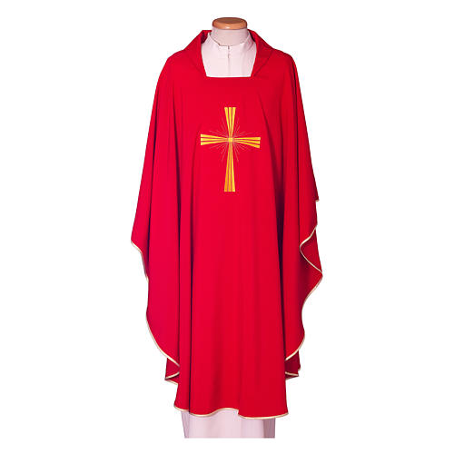 Chasuble in polyester with machine embroidery on front and back 2