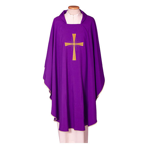 Chasuble in polyester with machine embroidery on front and back 3