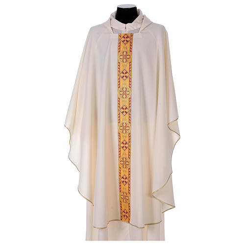 Monastic Chasuble in polyester with decorated gallon 5