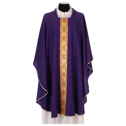 Monastic Chasuble in polyester with decorated gallon 6