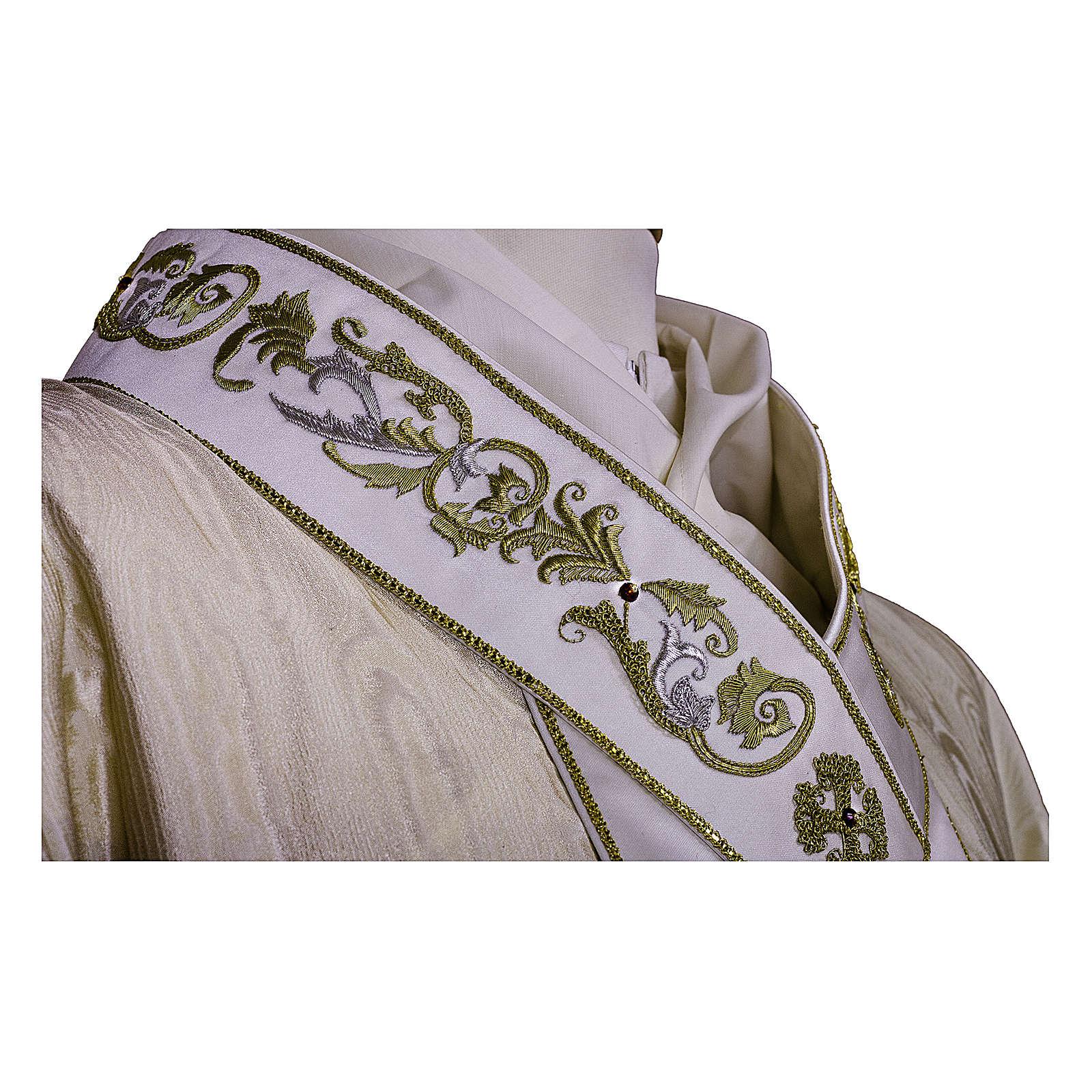Casula tessuto preziosissimo lana seta, stolone e collo RICAMATI A MANO 4