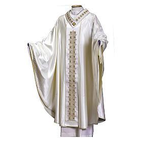 Casula tessuto preziosissimo lana seta, stolone e collo RICAMATI A MANO s1