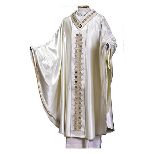Casula tessuto preziosissimo lana seta, stolone e collo RICAMATI A MANO 1