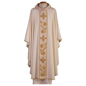 Casula salia di pura lana leggerissima  stolone e collo pura seta RICAMO A MANO s1