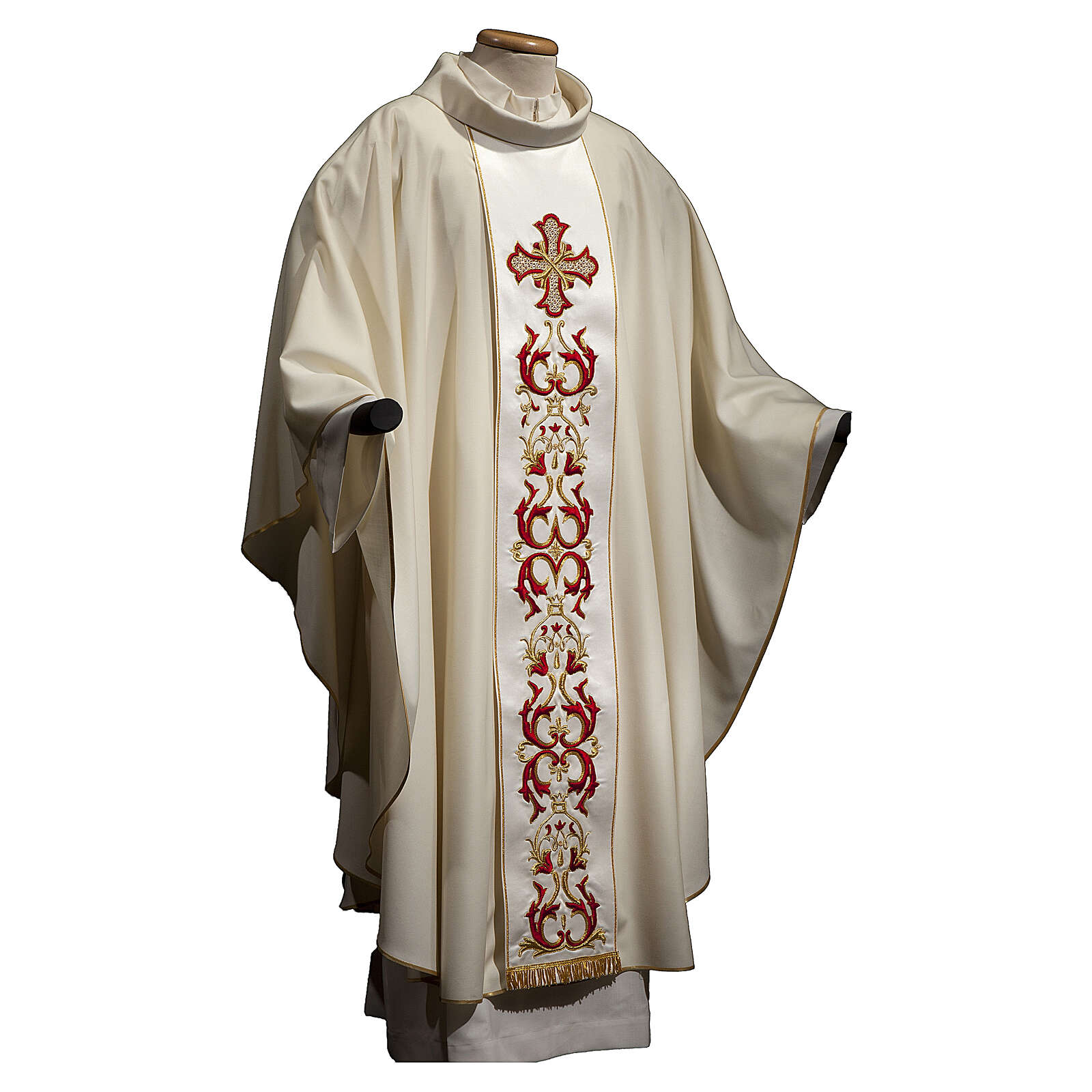 Chasuble with stole 100% wool, HAND EMBROIDERED red cross 4