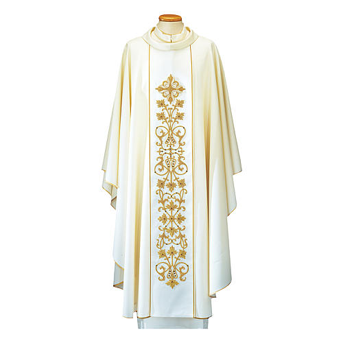 Chasuble 100% wool with silk gallon, hand embroidered 1