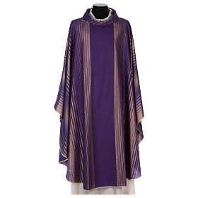 Monastic Chasuble in wool and lurex with stripes, light fabric s1