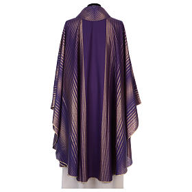 Monastic Chasuble in wool and lurex with stripes, light fabric s3