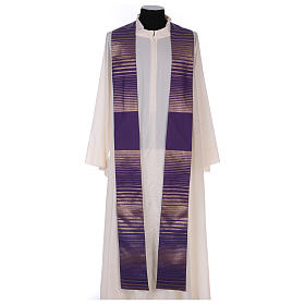 Monastic Chasuble in wool and lurex with stripes, light fabric s4