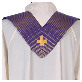 Monastic Chasuble in wool and lurex with stripes, light fabric s5