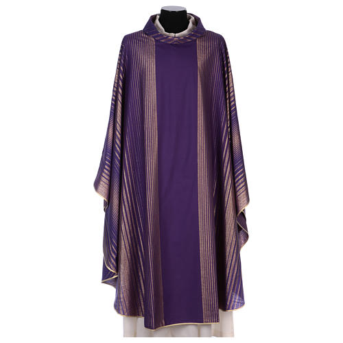 Monastic Chasuble in wool and lurex with stripes, light fabric 1