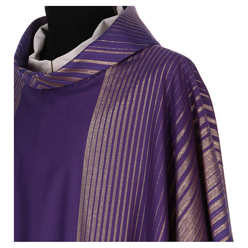 Monastic Chasuble in wool and lurex with stripes, light fabric 2