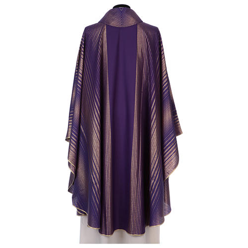 Monastic Chasuble in wool and lurex with stripes, light fabric 3