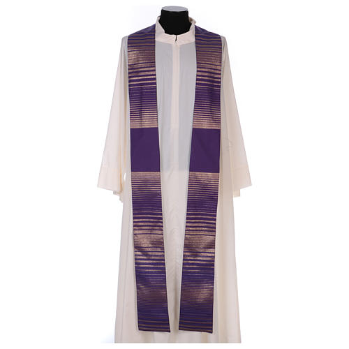 Monastic Chasuble in wool and lurex with stripes, light fabric 4