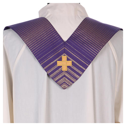 Monastic Chasuble in wool and lurex with stripes, light fabric 5