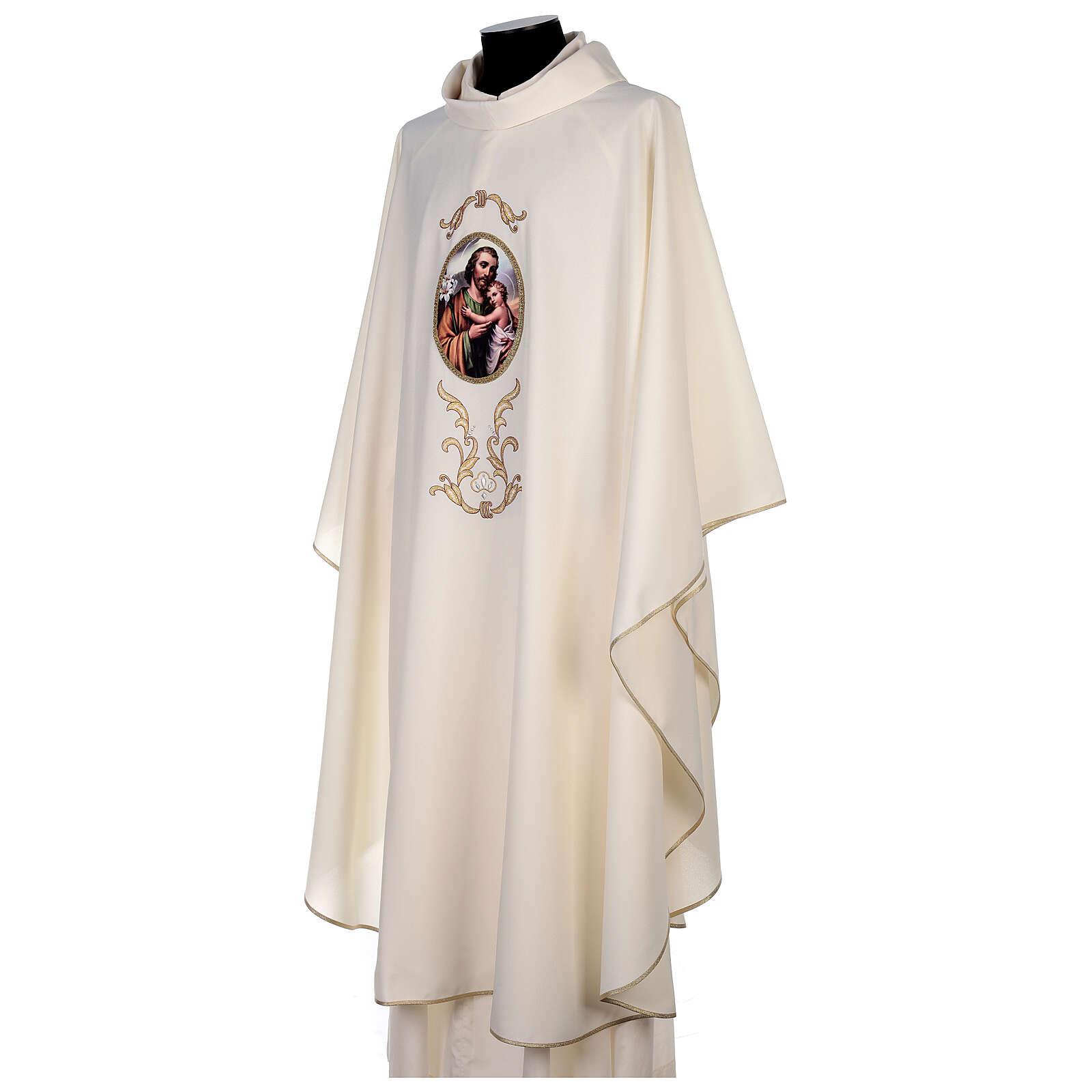 Casulla San José colores litúrgicos 100% poliéster 4