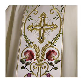 Casula pura lana fiori croce ricamata direttamente sullo stolone s2
