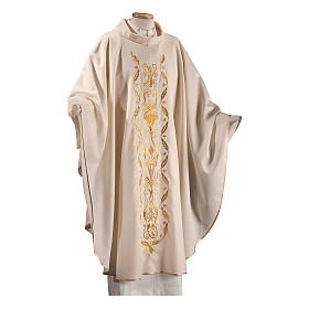 Catholic Chasuble in pure wool with embroidered satin gallon s1