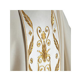 Catholic Chasuble in pure wool with embroidered satin gallon s3