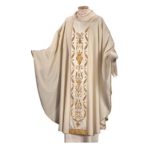Catholic Chasuble in pure wool with embroidered satin gallon 2