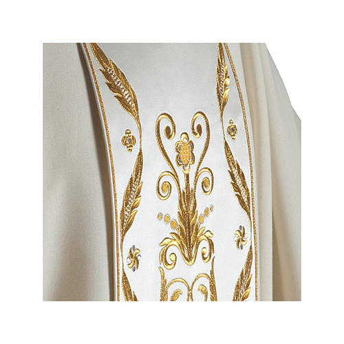 Catholic Chasuble in pure wool with embroidered satin gallon 3