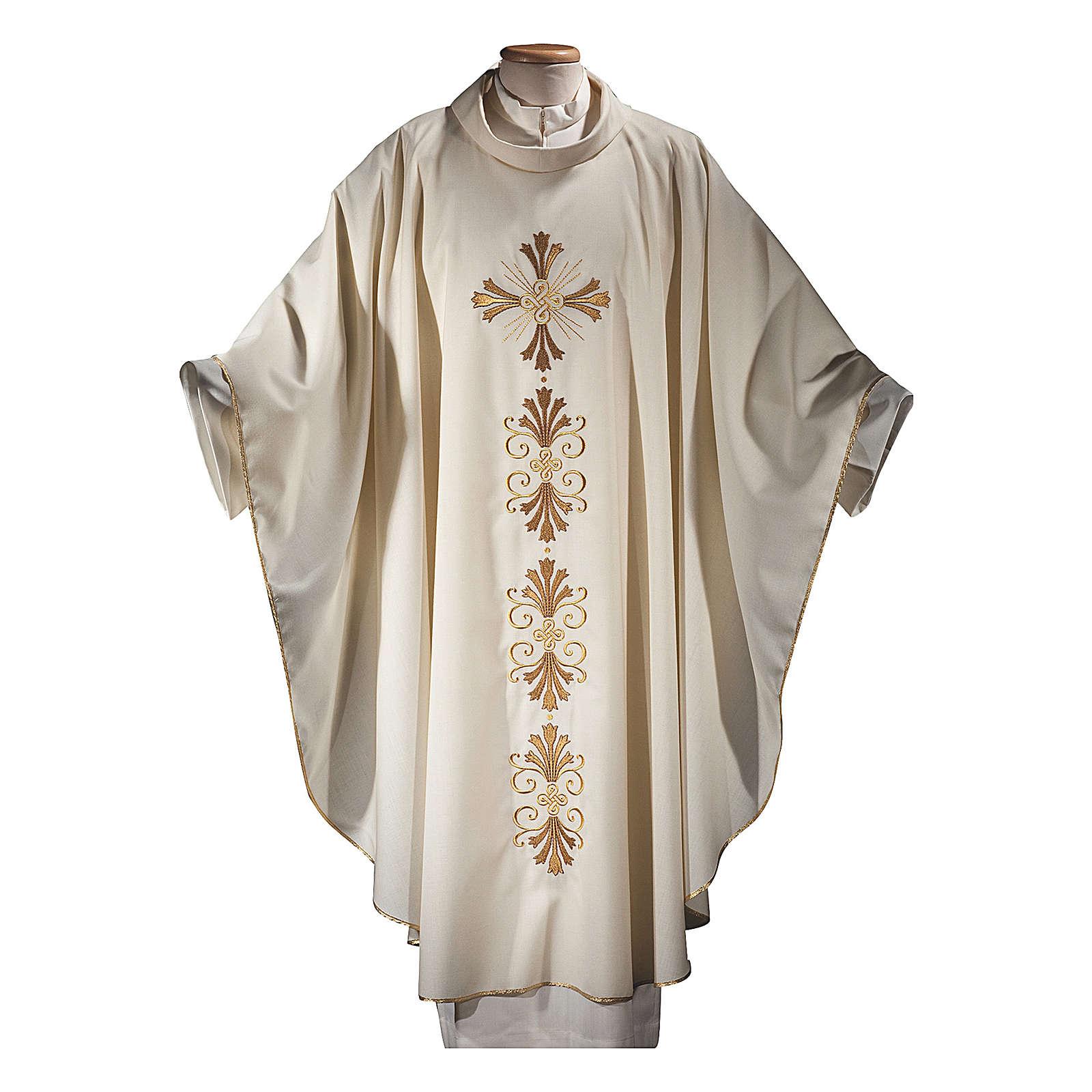 Casula su un tessuto di pura lana con stolone interamente ricamato croce 4