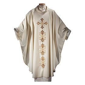 Casula su un tessuto di pura lana con stolone interamente ricamato croce s1
