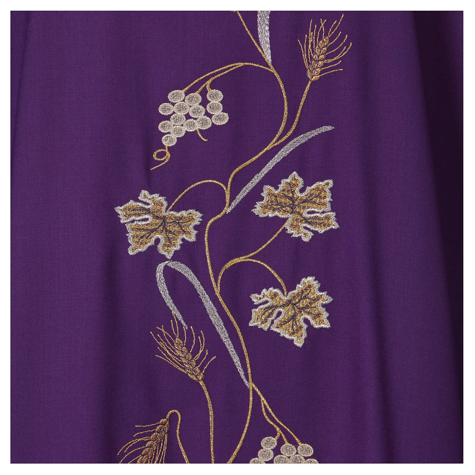 Casula su tessuto di pura lana tralci uva applicati sul mantello 4