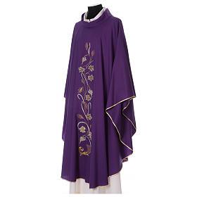 Casula su tessuto di pura lana tralci uva applicati sul mantello s3