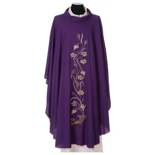 Casula su tessuto di pura lana tralci uva applicati sul mantello 1