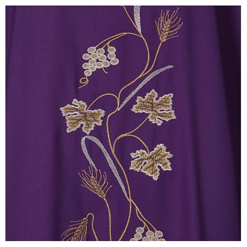 Casula su tessuto di pura lana tralci uva applicati sul mantello 2