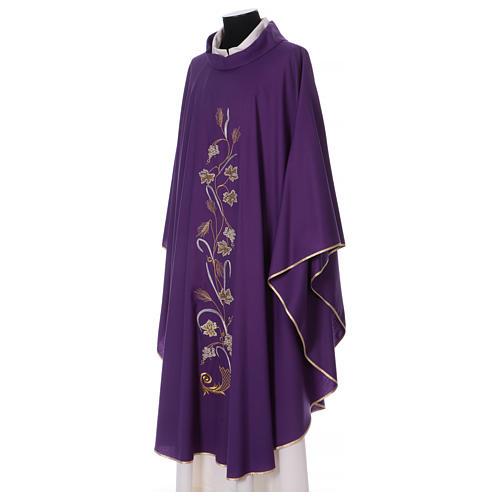 Casula su tessuto di pura lana tralci uva applicati sul mantello 3