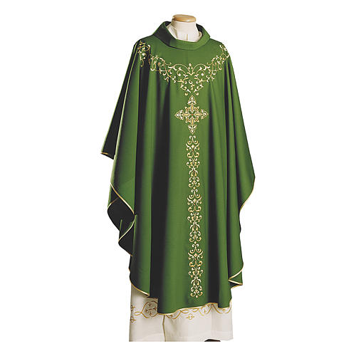 Monastic Chasuble in pure wool with embroidery on the front 1