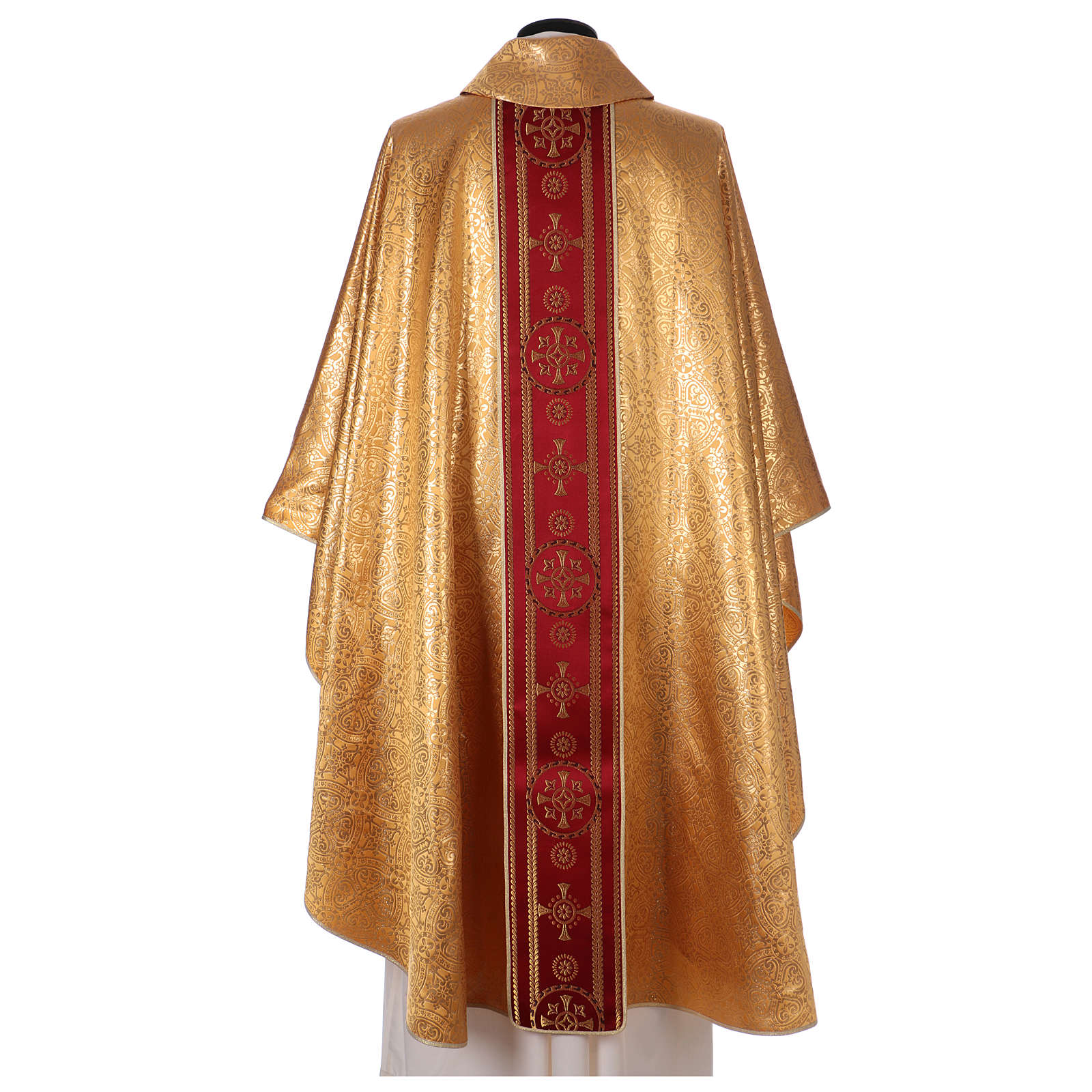 Chasuble in broderie fabric with red gallon, gold 4