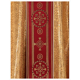 Chasuble in broderie fabric with red gallon, gold s2
