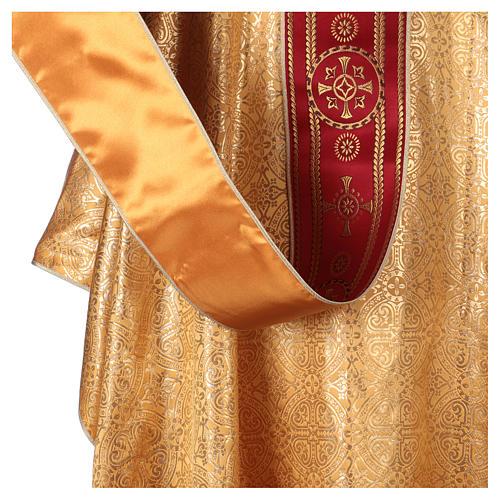 Casula Dourada Tecido Bordado Galão Central Vermelho 5
