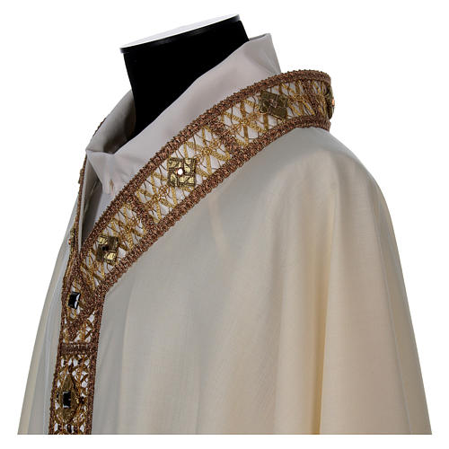 Chasuble with golden braided neckline 100% wool 4