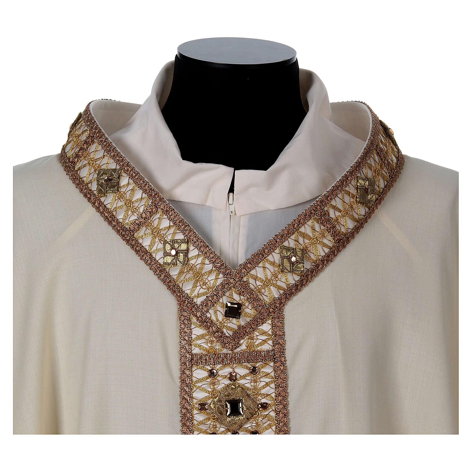 Casula 100% lana con collo agremano oro 4