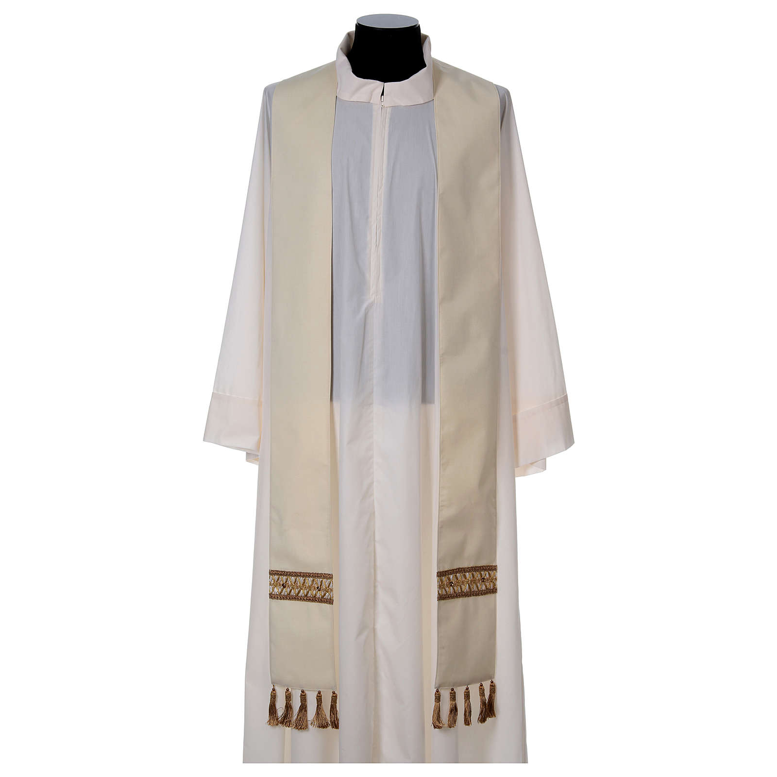 Chasuble with golden braided neckline and banding, 100% wool 4