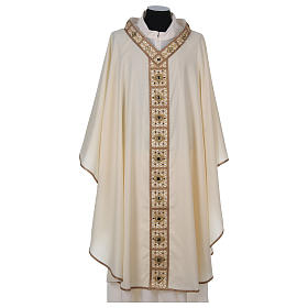 Chasuble with golden braided neckline and banding, 100% wool s1