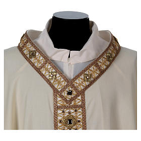 Chasuble with golden braided neckline and banding, 100% wool s2