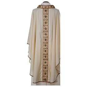 Chasuble with golden braided neckline and banding, 100% wool s5