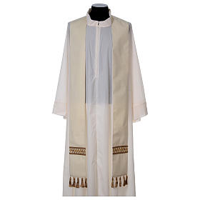 Chasuble with golden braided neckline and banding, 100% wool s6
