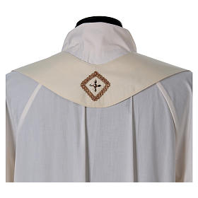 Chasuble with golden braided neckline and banding, 100% wool s8
