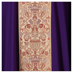 Chasuble in pure wool with lampas gallon and neckline s2