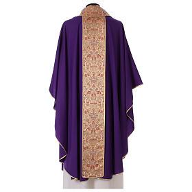 Casulla con tejido de pura lana con estolón y cuello de paño de lampazo s4