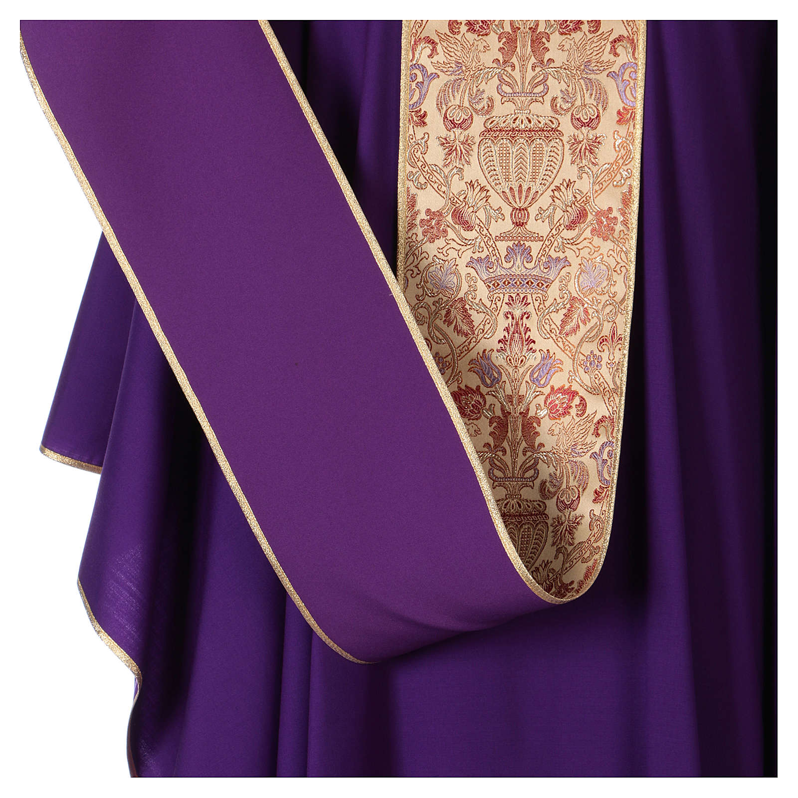 Chasuble en tissu pure laine avec bande centrale et col en lampas 4