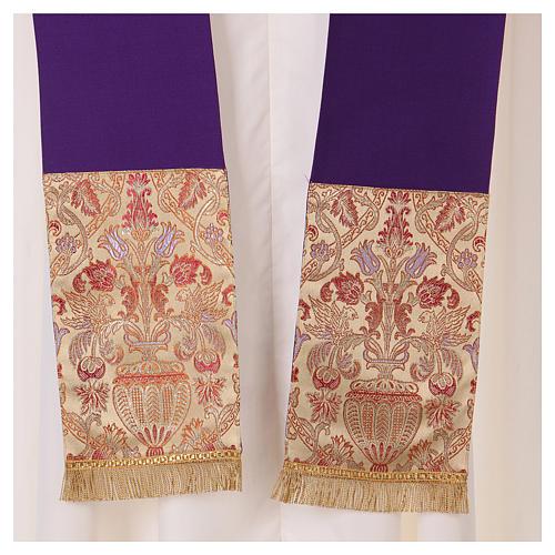 Chasuble en tissu pure laine avec bande centrale et col en lampas 7