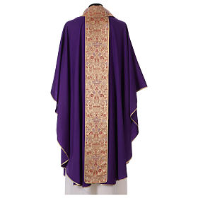 Catholic Priest Chasuble in pure wool with lampas gallon and neckline s4