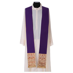 Catholic Priest Chasuble in pure wool with lampas gallon and neckline s6